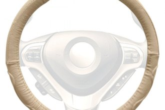 Winjet® WJ00-B003-BG - Beige Genuine Leather Steering Wheel Cover with Top And Side Curve Pattern