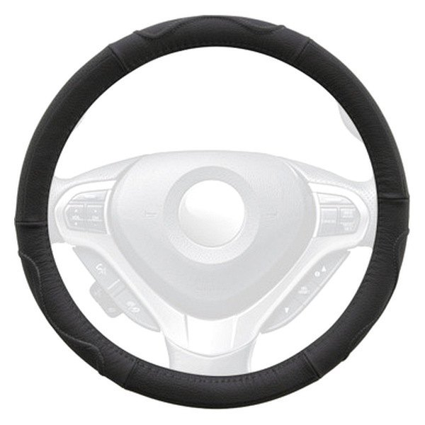 Winjet® - Black Genuine Leather Steering Wheel Cover with Top And Side Curve Pattern