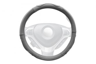 Winjet® WJ00-B003-GY - Gray Genuine Leather Steering Wheel Cover with Top And Side Curve Pattern