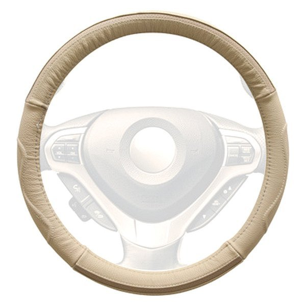 Winjet® - Beige Genuine Leather Steering Wheel Cover with Side Curve Pattern