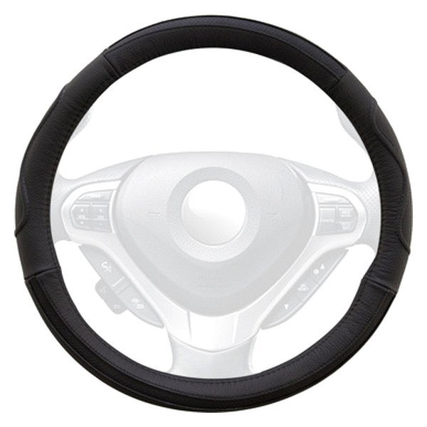 Winjet® - Black Genuine Leather Steering Wheel Cover with Side Curve Pattern
