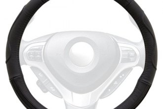 Winjet® WJ00-B011-BK - Black Genuine Leather Steering Wheel Cover with Side Curve Pattern