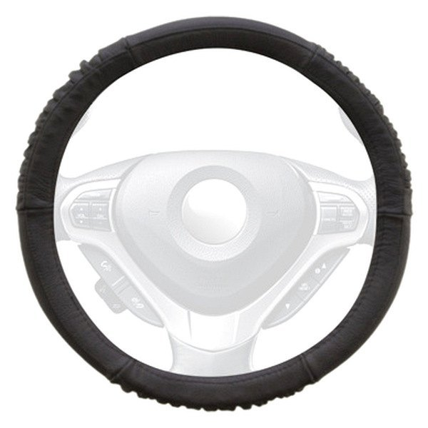 Winjet® - Black Genuine Leather Steering Wheel Cover with Sides and Bottom Ridges