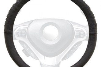 Winjet® WJ00-B015-BK - Black Genuine Leather Steering Wheel Cover with Sides and Bottom Ridges