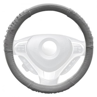 Winjet® - Gray Genuine Leather Steering Wheel Cover with Sides and Bottom Ridges
