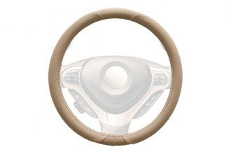 WINJET® - Beige Faux Leather Steering Wheel Cover with Smooth Pattern