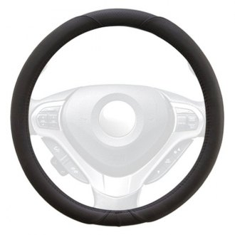 Winjet® - Black Faux Leather Steering Wheel Cover with Smooth Pattern
