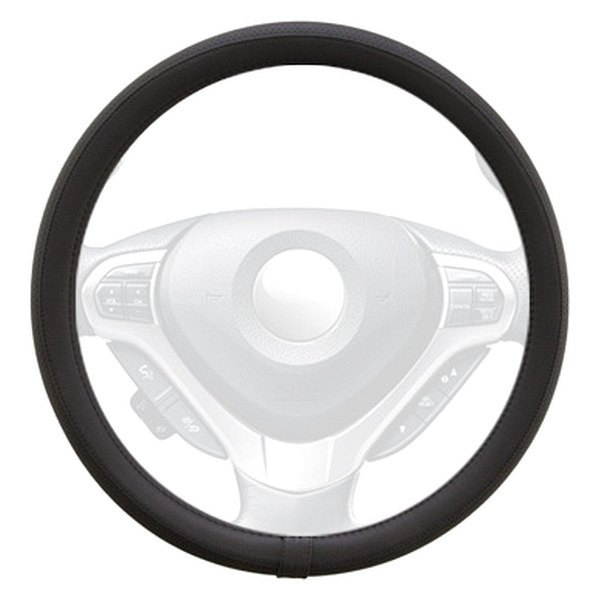 Winjet® - Black Faux Leather Steering Wheel Cover with Side Pinhole Pattern