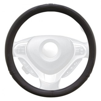 Winjet® - Black Faux Leather Steering Wheel Cover