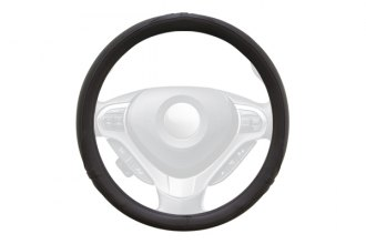 Winjet® WJ00-K079-BK - Black Faux Leather Steering Wheel Cover with Side Oval and Pinhole Pattern