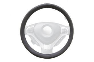 WINJET® - Gray Faux Leather Steering Wheel Cover with Side Oval and Pinhole Pattern