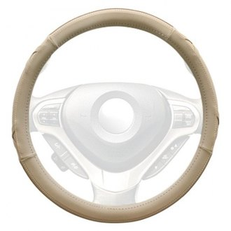 Winjet® - Beige Faux Leather Steering Wheel Cover with Side X and Pinhole Pattern