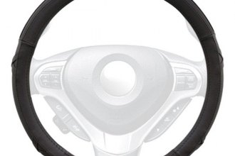 Winjet® - Black Faux Leather Steering Wheel Cover with Side X and Pinhole Pattern