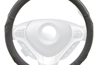 Winjet® - Gray Faux Leather Steering Wheel Cover with Side X and Pinhole Pattern