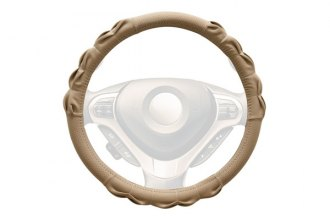 Winjet® - Beige Faux Leather Steering Wheel Cover with Gathered Pattern