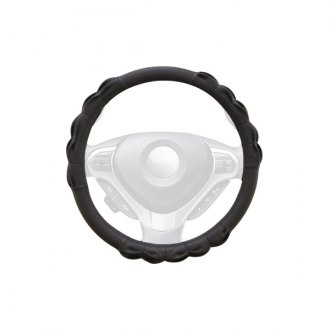 WINJET® - Black Faux Leather Steering Wheel Cover with Gathered Pattern
