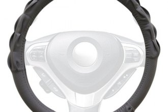 Winjet® - Gray Faux Leather Steering Wheel Cover with Gathered Pattern