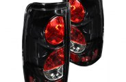 Winjet® - Glossy Black Euro Tail Lights with Clear Lenses
