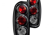 Winjet® - Black Euro Tail Lights with Clear Lenses
