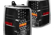 Winjet® - Black LED Tail Lights with Clear Lenses