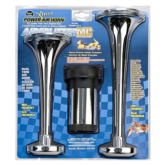 Wolo® - Airsplitter™ Metal Chrome 2 Trumpets Air Horn with Weather Protection Covers for Motorcycles