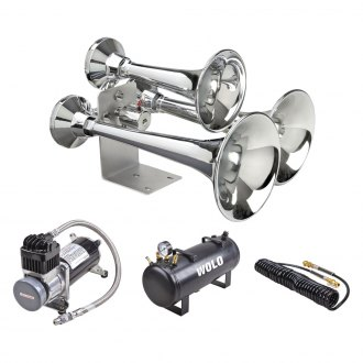 Wolo® - Cannon Ball Express Pro™ Triple Chrome Trumpets Train Horn with On-Board Air System