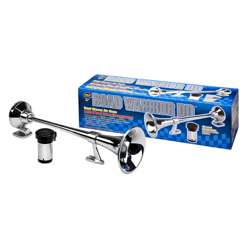 Wolo® 845 - Road Warrior™ Chrome Trumpets DD Roof Mount Truck Air Horn with Heavy Duty Compressor
