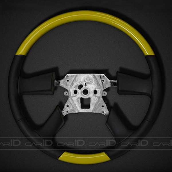 Remin® - Steering Wheel Without Radio Control - Yellow with Black Leather
