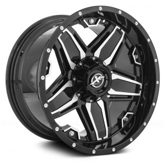 XF OFF-ROAD® - XF-223 Gloss Black with Machined Face and Dots