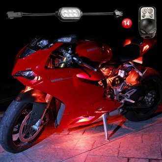 XKGlow® - Single Color Motorcycle Underglow LED Pod Kit With Remote Control