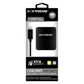 Xtreme Accessories® - Black 2.4 A Dual Port Home Charger with Micro USB Cable
